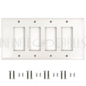 Decora Four Gang Wall Plate - White