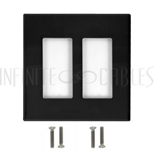 WP-DS2-BK Decora Double Gang Screw-Less Wall Plate - Black - Infinite Cables
