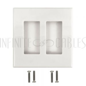 WP-DS2-WH Decora Double Gang Screw-Less Wall Plate - White - Infinite Cables