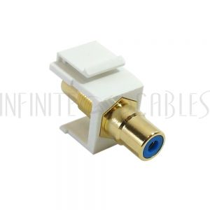 WP-IN-RCA-BL RCA Female/Female Keystone Wall Plate Insert White, Gold Plated - Blue - Infinite Cables