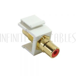 WP-IN-RCA-RD RCA Female/Female Keystone Wall Plate Insert White, Gold Plated - Red