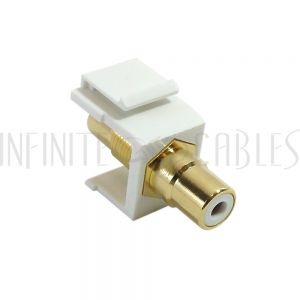 WP-IN-RCA-WH RCA Female/Female Keystone Wall Plate Insert White, Gold Plated - White - Infinite Cables