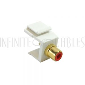 WP-IN-RCAS-RD RCA Solder to Female Keystone Wall Plate Insert White, Gold Plated - Red - Infinite Cables