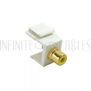 WP-IN-RCAS-YL RCA Solder to Female Keystone Wall Plate Insert White, Gold Plated - Yellow - Infinite Cables