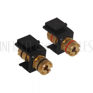 WP-INB-BAN Banana Clip Female/Female Keystone wall plate Insert (Pair, Black/Red), Gold Plated - Black - Infinite Cables