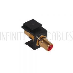 WP-INB-RCA-RD RCA Female/Female Keystone Wall Plate Insert Black, Gold Plated - Red - Infinite Cables