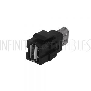 WP-INB-USB USB A/A Keystone Wall Plate Insert - Black - Infinite Cables