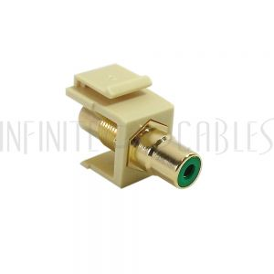 WP-INI-RCA-GN RCA Female/Female Keystone Wall Plate Insert Ivory, Gold Plated - Green - Infinite Cables