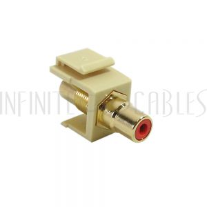 WP-INI-RCA-RD RCA Female/Female Keystone Wall Plate Insert Ivory, Gold Plated - Red - Infinite Cables