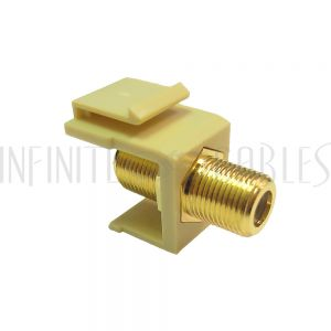 WP-INI-TVF F-Type Female/Female Keystone Wall Plate Insert Ivory, Gold Plated (1Ghz Insert) - Infinite Cables