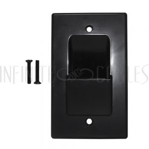 WP-PT1-BK Cable Pass-through Wall Plate, Single Gang - Black - Infinite Cables