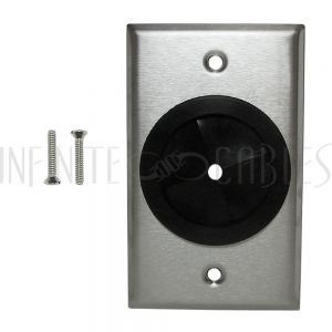 WP-PT1-SS Cable Pass-through Wall Plate, Single Gang - Stainless Steel