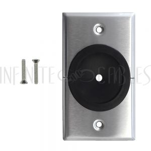 WP-PT1B-SS Cable Pass-through Wall Plate, Removable Bottom, Single Gang - Stainless Steel - Split - Infinite Cables