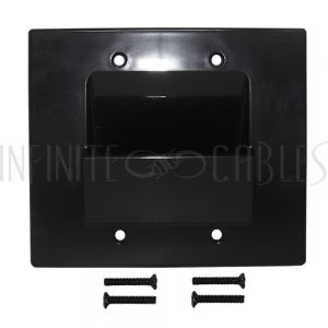 WP-PT2-BK Cable Pass-through Wall Plate, Double Gang - Black - Infinite Cables