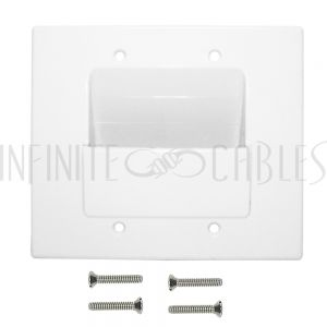 WP-PT2-WH Cable Pass-through Wall Plate, Double Gang - White - Infinite Cables