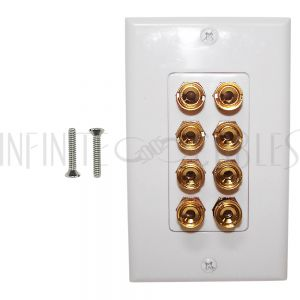 4 Pair Banana Clip Wall Plate Kit Decora - White