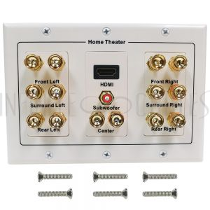 WPK-BAN7.1-DH 7.1 Surround Sound + HDMI Wall Plate Kit, Decora - White - Infinite Cables