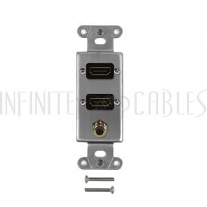 WPK-DS-HD2F Stainless steel decora strap - 2x HDMI + 1x F-Type - Infinite Cables