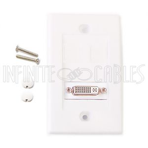 WPK-DVI1 1-Port DVI Wall Plate Kit - White - Infinite Cables