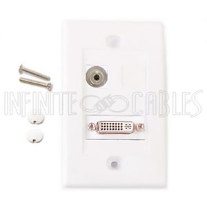 WPK-DVIS 1-Port DVI + 1-Port 3.5mm Wall Plate Kit - White - Infinite Cables
