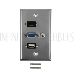 WPK-SS-101 VGA, 3.5mm, HDMI, USB Single Gang Wall Plate Kit - Stainless Steel - Infinite Cables