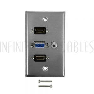 WPK-SS-102 VGA, 3.5mm, 2x HDMI Single Gang Wall Plate Kit - Stainless Steel - Infinite Cables