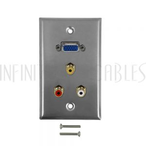 WPK-SS-103 VGA, RCA Composite + Left/Right Audio Single Gang Wall Plate Kit - Stainless Steel - Infinite Cables