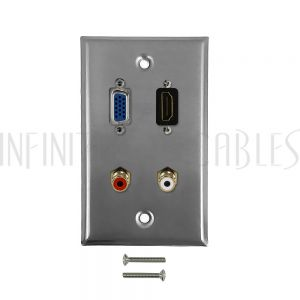 WPK-SS-104 VGA, HDMI, RCA + Left/Right Audio Single Gang Wall Plate Kit - Stainless Steel - Infinite Cables
