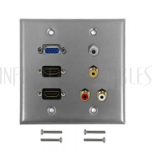 WPK-SS-201 VGA, 2x HDMI, 3.5mm, RCA Composite + Left/Right Audio Double Gang Wall Plate Kit - Stainless Steel - Infinite Cables