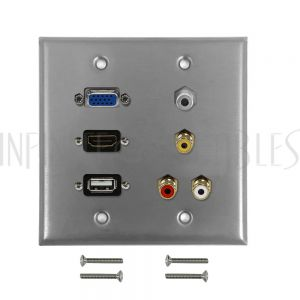 WPK-SS-202 VGA, USB, HDMI, 3.5mm, RCA Composite + Left/Right Audio Double Gang Wall Plate Kit - Stainless Steel - Infinite Cables