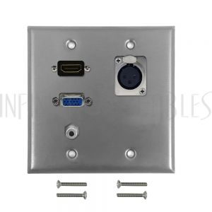 WPK-SS-203 VGA, 3.5mm, HDMI, XLR Locking Female Double Gang Wall Plate Kit - Stainless Steel - Infinite Cables