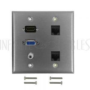 WPK-SS-204 VGA, 3.5mm, HDMI, 2x Cat6 Double Gang Wall Plate Kit - Stainless Steel - Infinite Cables