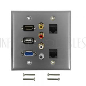 WPK-SS-206 VGA, USB, HDMI, 3.5mm, RCA Composite + Left/Right Audio, 2x Cat6 F/F Double Gang Wall Plate Kit - Stainless Steel - Infinite Cables