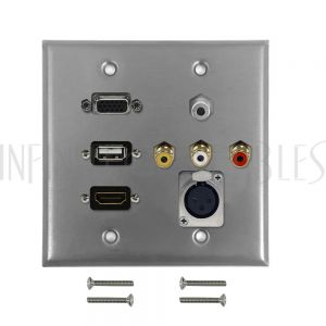 WPK-SS-207 VGA, USB, HDMI, 3.5mm, RCA Composite + Left/Right Audio, XLR Female Double Gang Wall Plate Kit - Stainless Steel - Infinite Cables