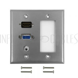 WPK-SS-208 VGA, HDMI, 3.5mm, Decora Hole Double Gang Wall Plate Kit - Stainless Steel - Infinite Cables
