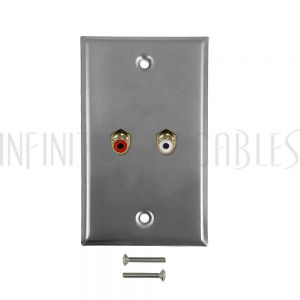 WPK-SSA RCA Left/Right Audio Single Gang Wall Plate Kit - Stainless Steel - Infinite Cables