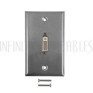 WPK-SSDVI1 1-Port DVI Wall Plate Kit - Stainless Steel - Infinite Cables