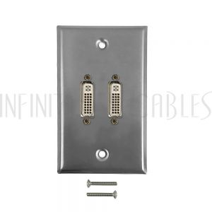 WPK-SSDVI2 2-Port DVI Wall Plate Kit - Stainless Steel - Infinite Cables