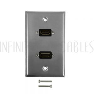 WPK-SSHD2 2-Port HDMI Wall Plate Kit - Stainless Steel - Infinite Cables