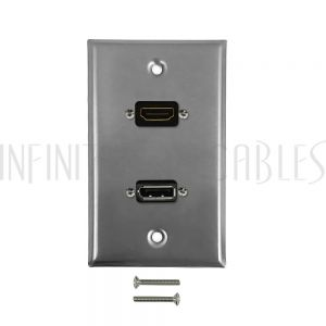 WPK-SSHDU HDMI, USB Single Gang Wall Plate Kit - Stainless Steel - Infinite Cables