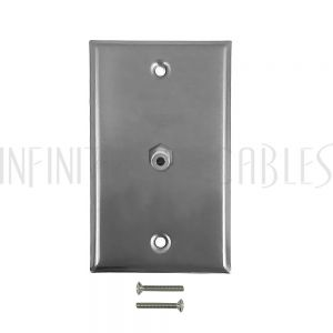 WPK-SSS 3.5mm Stereo Single Gang Wall Plate Kit - Stainless Steel - Infinite Cables