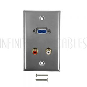 WPK-SSVGAA VGA, RCA Left/Right Audio Single Gang Wall Plate Kit - Stainless Steel - Infinite Cables