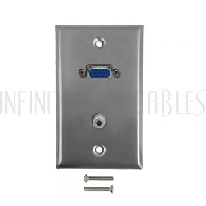 WPK-SSVGAS VGA, 3.5mm Single Gang Wall Plate Kit - Stainless Steel - Infinite Cables