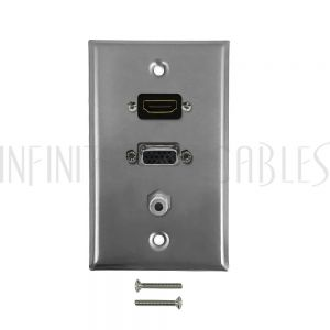 WPK-SSVHS VGA, HDMI, 3.5mm Single Gang Wall Plate Kit - Stainless Steel - Infinite Cables