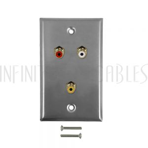 WPK-SSYLA RCA Composite + Left/Right Audio Single Gang Wall Plate Kit - Stainless Steel - Infinite Cables
