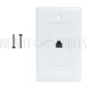 WPK-TEL1-WH Single gang decora style telephone wall plate 6P4C - White