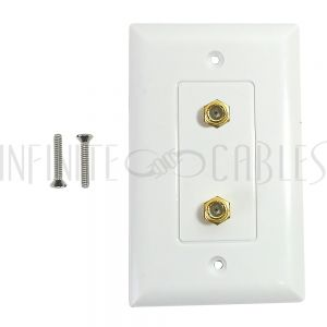 WPK-TVF2-WH Single gang decora style 2x coax wall plate - White - Infinite Cables
