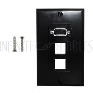 WPK-VGA2-D-BK 1-Port VGA Wall Plate Kit Decora Black (with 2x Keystone Hole)