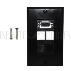 1-Port VGA Wall Plate Kit Decora Black (with 4x Keystone inserts)
