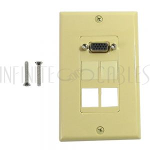 WPK-VGA4-D-IV 1-Port VGA Wall Plate Kit Decora Ivory (with 4x Keystone inserts)